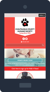 Mobile phone displaying the Chautauqua County Humane Society website