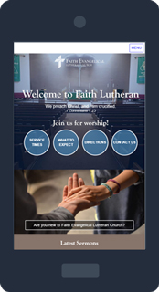 Mobile phone displaying the Faith Lutheran website