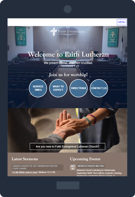 Faith Lutheran website on a tablet